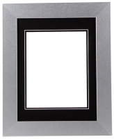 "Custom Frame for 8x10 Photo - Premium Silver 2"" Frame with Black/Black Double Matting (Overall Dimensions 14.5"" x 17.5"") at PristineAuction.com"