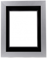 "Custom Frame for 11x14 Photo - Premium Silver 2""  Frame with Black/Black Double Matting (Overall Dimensions 17.5"" x 21.5"") at PristineAuction.com"