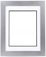 "Custom Frame for 11x14 Photo - Premium Silver 2"" Frame with White/Black Double Matting (Overall Dimensions 17.5"" x 21.5"") at PristineAuction.com"