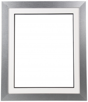 "Custom Frame for 16x20 Photo - Premium Silver 2"" Frame with White/Black Double Matting (Overall Dimensions 23.5"" x 27.5"") at PristineAuction.com"