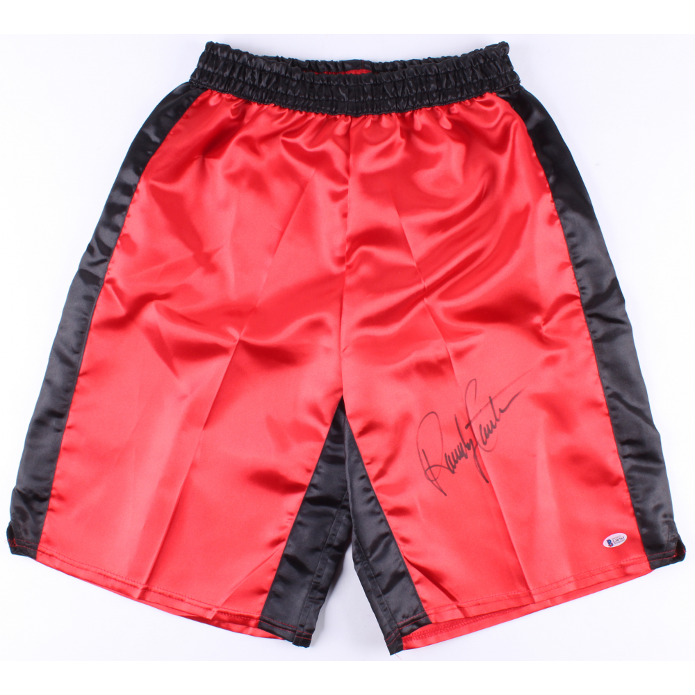 Randy Couture Autographed Red Custom UFC Trunks Beckett Auth Black