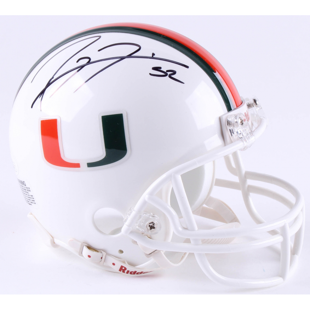 Ray Lewis Signed Miami Hurricanes Matte Black Mini-Helmet