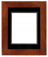 "Custom Frame for 8x10 Photo - Premium Honey Walnut 2"" Frame with Black/Black Double Matting (Overall Dimensions 14.5"" x 17.5"") at PristineAuction.com"