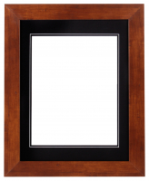 "Custom Frame for 11x14 Photo - Premium Honey Walnut 2""  Frame with Black/Black Double Matting (Overall Dimensions 17.5"" x 21.5"") at PristineAuction.com"
