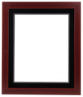 "Custom Frame for 16x20 Photo - Premium Cherry Wood 2"" Frame with Black/Black Double Matting (Overall Dimensions 23.5"" x 27.5"") at PristineAuction.com"