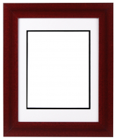 "Custom Frame for 8x10 Photo - Premium Cherry Wood 2"" Frame with White/Black Double Matting (Overall Dimensions 14.5"" x 17.5"") at PristineAuction.com"