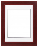 "Custom Frame for 11x14 Photo - Premium Cherry Wood 2"" Frame with White/Black Double Matting (Overall Dimensions 17.5"" x 21.5"") at PristineAuction.com"