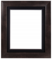 "Custom Frame for 16x20 Photo - Premium Espresso Walnut 3"" Frame with Black/Black Double Matting (Overall Dimensions 25.5"" x 29.5"") at PristineAuction.com"