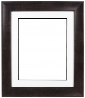 "Custom Frame for 16x20 Photo - Premium Espresso Walnut 3"" Frame with White/Black Double Matting (Overall Dimensions 25.5"" x 29.5"") at PristineAuction.com"