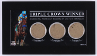 "American Pharoah ""Triple Crown Winner"" Custom Framed Race-Used Dirt Display (Steiner COA)"