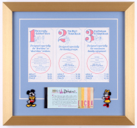 Disneyland 15x16 Custom Framed Poster Display with Ticket Book and (2) Disney Patches