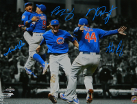 2016 Cubs World Series Champions 16x20 Photo Team-Signed by (4) with Anthony Rizzo, Kris Bryant, Addison Russell & Javier Baez (Fanatics Hologram, MLB Hologram & Schwartz Sports COA)