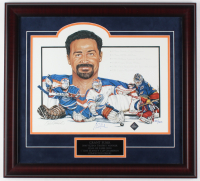 Grant Fuhr Signed Oilers 21x23 Custom Framed Lithograph Display LE #300/500 (Fuhr COA)
