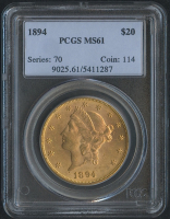 1894 $20 Liberty Head Double Eagle Gold Coin (PCGS MS 61)