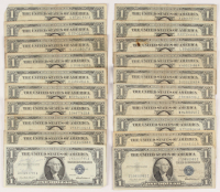 Lot of (20) 1935-1957 U.S. $1 One Dollar Blue Seal Silver Certificate Notes