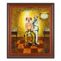 "George Crionas Signed ""Slightly Nervous!"" 24x28 Custom Framed Original Oil Painting on Board"