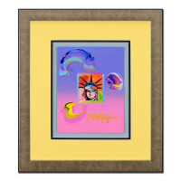 """Peter Max Signed """"Liberty Head"""" 18x21 Custom Framed One-Of-A-Kind Acrylic Mixed Media"""