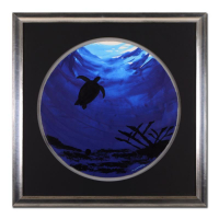 "Wyland Signed ""Turtle"" 28x28 Custom Framed Original Watercolor Painting"