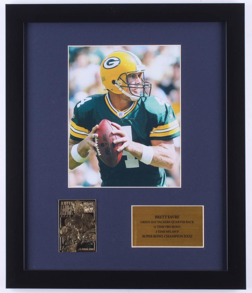 d31ff9d6eff Brett Favre Packers 16x19 Custom Framed Photo Display with 23k Gold Card
