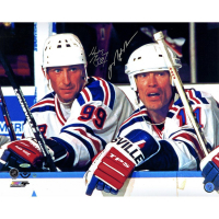 Mark Messier & Wayne Gretzky Signed Rangers 16x20 Photo (UDA COA & Steiner COA)