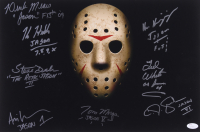 """""""Jason"""" 12x18 Photo Signed by (8) with Kane Hodder, Tom Morga, Derek Mears, Ted White with Multiple Inscriptions (JSA LOA)"""