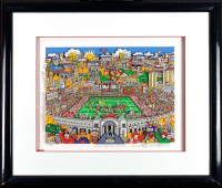 "Charles Fazzino Signed Ohio State Buckeyes ""Saturday Afternoon in the Shoe"" 21x25 Custom Framed 3D Artwork Display (PA LOA) at PristineAuction.com"