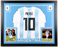 Lionel Messi Signed Argentina 35x43 Custom Framed Jersey Display (Beckett COA)
