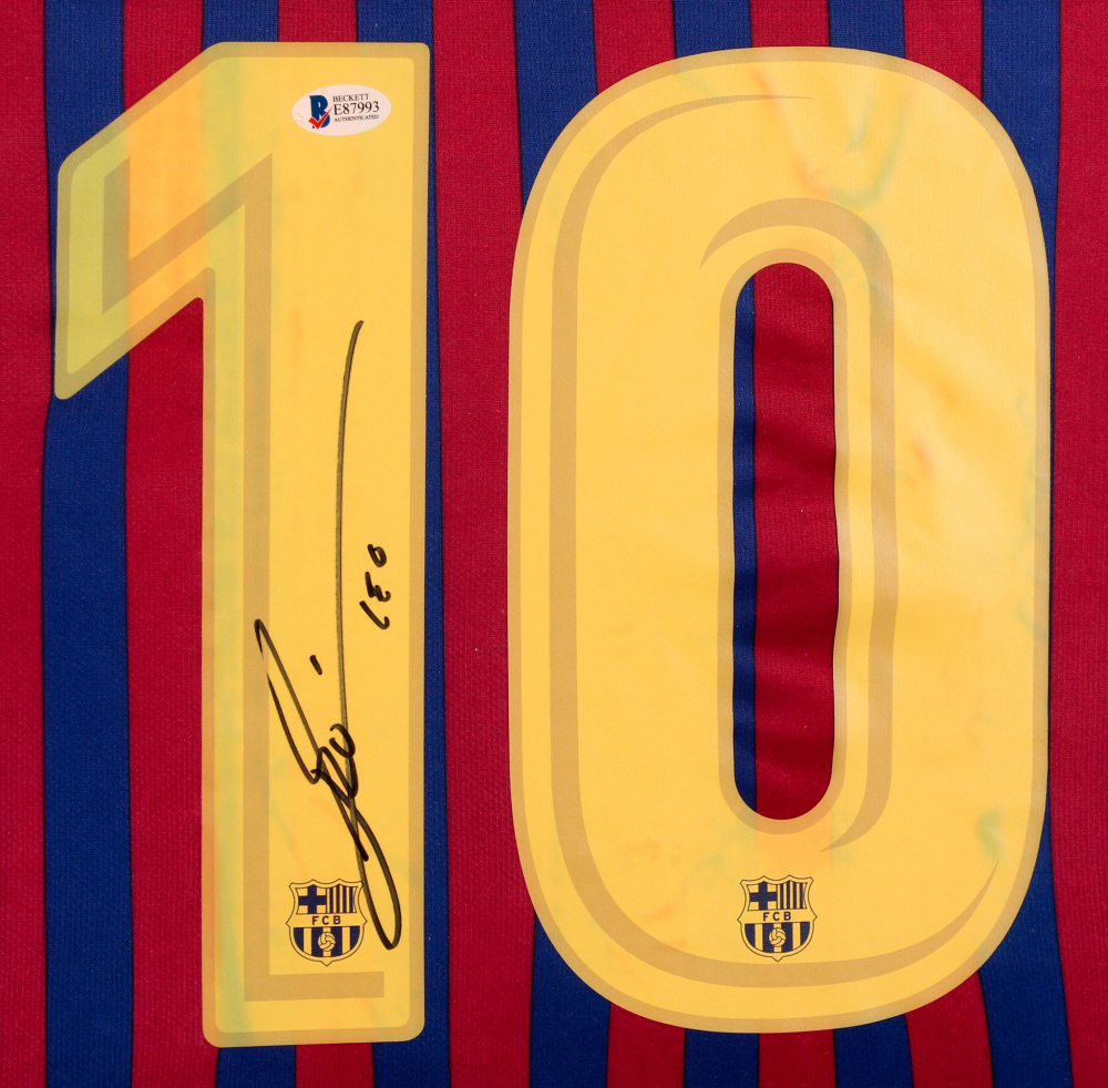 11ff4fa2a57 Lionel Messi Signed Barcelona 35x43 Custom Framed Jersey Display (Beckett  COA) at PristineAuction.