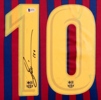 Lionel Messi Signed Barcelona 35x43 Custom Framed Jersey Display (Beckett COA) at PristineAuction.com