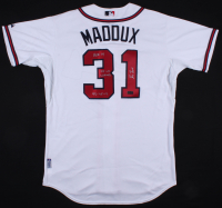 "Greg Maddux Signed Braves Jersey Inscribed ""HOF 14"", ""95 WS Champs"" & ""92-95 Cy"" (Radtke COA) at PristineAuction.com"