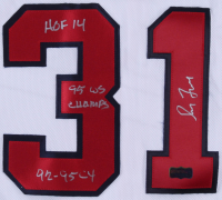 """Greg Maddux Signed Braves Jersey Inscribed """"HOF 14"""", """"95 WS Champs"""" & """"92-95 Cy"""" (Radtke COA) at PristineAuction.com"""