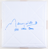 "Maury Wills Signed Full-Size Base Inscribed ""586 Stolen Bases"" (PA COA) at PristineAuction.com"