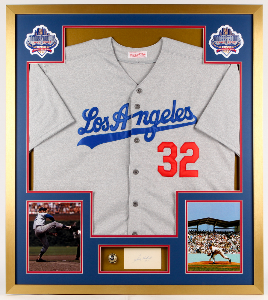 d3aa20ff4ca Sandy Koufax Signed Dodgers 32x36 Custom Framed Cut Display with  Championship Ring (PSA)
