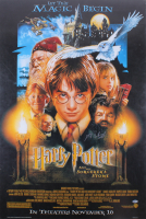 """Daniel Radcliffe Signed 27x40 """"Harry Potter and the Sorcerer's Stone"""" Poster Print (Beckett COA)"""