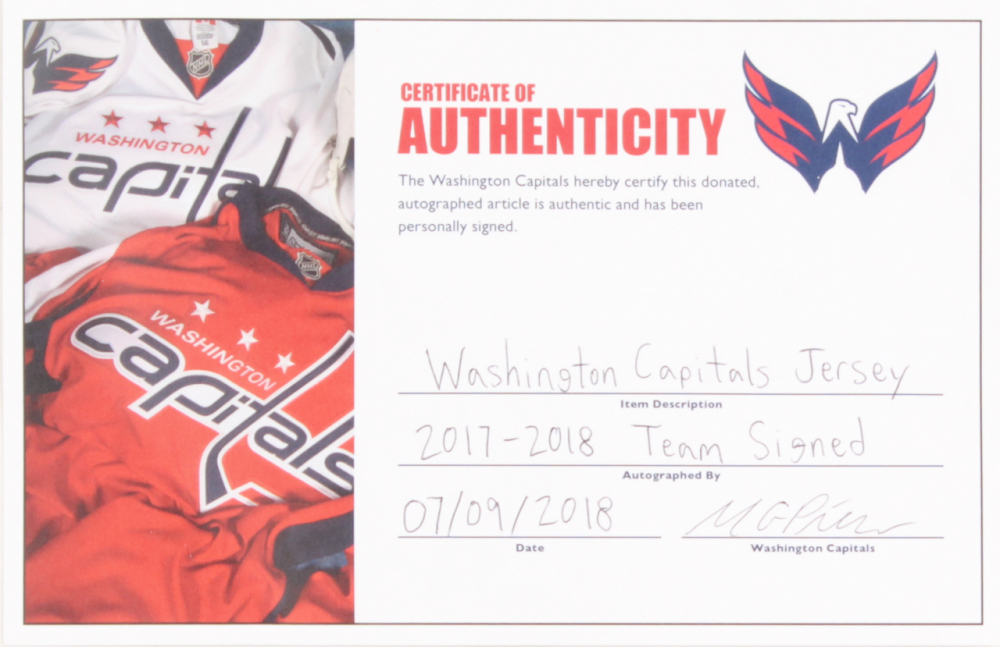 3fd97643065 2017-18 Stanley Cup Champion Capitals Jersey Team-Signed by (21) with