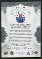 2016-17 Exquisite Collection Endorsements Relics #ERCM Connor McDavid / 25 at PristineAuction.com