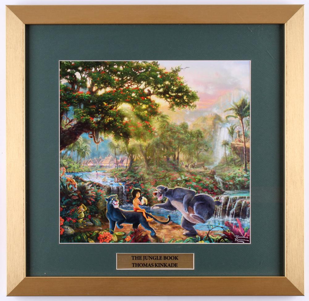 "Thomas Kinkade Walt Disney's ""The Jungle Book"" 17.5x18 Custom Framed Print at PristineAuction.com"