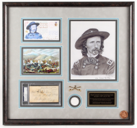 George Armstrong Custer Signed LE 22.75x24.25 Custom Framed Envelope Display with Print & Coin (PSA Encapsulated)