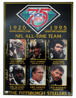 Pittsburgh Steelers 75th Anniversary 18x24 Print Signed by (6) with Mike Webster, Joe Greene, Rod Woodson, Jack Ham, Jack Lambert, Mel Blount (JSA COA) at PristineAuction.com