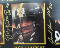 Pittsburgh Steelers 75th Anniversary 18x24 Print Signed by (6) with Mike Webster, Joe Greene, Rod Woodson, Jack Ham, Jack Lambert & Mel Blount (JSA COA) at PristineAuction.com