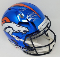 """Peyton Manning Signed LE Broncos Full-Size Authentic On-Field Chrome Speed Helmet Inscribed """"5X NFL MVP"""" (Fanatics Hologram)"""