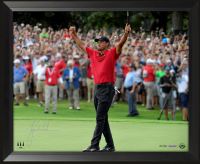 "Tiger Woods Signed ""Exultation"" 18x36 Custom Framed Limited Edition Photo (UDA COA)"