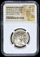 336-323 BC Kingdom of Macedon Alexander III AR (Silver) Tetradrachm (16.99g) Lifetime-Early Posthumous obv Heracles rv Zeus  (NGC VF) Strike: 4/5, Surface: 4/5