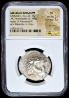 312-281 BC Seleucid Kingdom Seleucus I AR (Silver) Tetradrachm (17.08g) Types of Alexander III obv Heracles rv Zeus (NGC VF, Die Shift) Strike: 2/5, Surface: 3/5 at PristineAuction.com