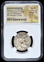 """Seleucus I """"The Victor"""" 312-281 BC Seleucid Kingdom - Ancient Greek Tetradrachm Silver Coin, Types of Alexander III (NGC Ch VF) Strike: 4/5, Surface: 3/5 at PristineAuction.com"""