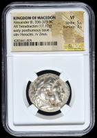 336-323 BC Kingdom of Macedon Alexander III AR (Silver) Tetradrachm (17.10g) Early Posthumous Issue obv Heracles rv Zeus (NGC VF) Strike: 5/5, Surface: 3/5