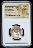336-323 BC Kingdom of Macedon Alexander III AR (Silver) Tetradrachm (17.14g) Issue of Seleucus I obv Heracles rv Zeus (NGC Ch VF) Strike: 4/5, Surface: 4/5