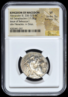336-323 BC Kingdom of Macedon Alexander III AR (Silver) Tetradrachm (17.08g) Issue of Seleucus I obv Heracles rv Zeus (NGC VF) Strike: 5/5, Surface: 3/5