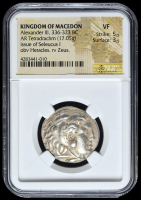336-323 BC Kingdom of Macedon Alexander III AR (Silver) Tetradrachm (17.05g) Issue of Seleucus I obv Heracles rv Zeus (NGC VF) Strike: 5/5, Surface: 3/5