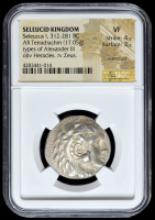 312-281 BC Seleucid Kingdom Seleucus I AR (Silver) Tetradrachm (17.05g) Types of Alexander III obv Heracles rv Zeus (NGC VF, Overstruck) Strike: 4/5, Surface: 3/5 at PristineAuction.com